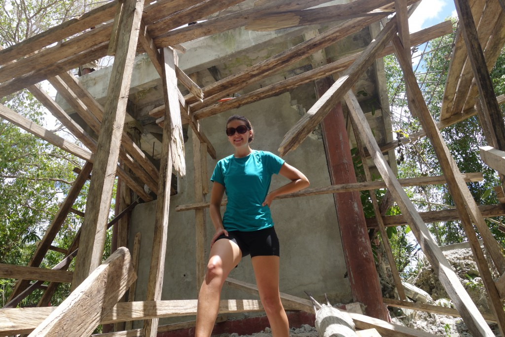 The remains of a lookout tower destroyed by the 2013 Bohol earthquake. The wood is there as scaffolding because surprisingly the tower was being rebuilt (or at least torn down) while we were there.