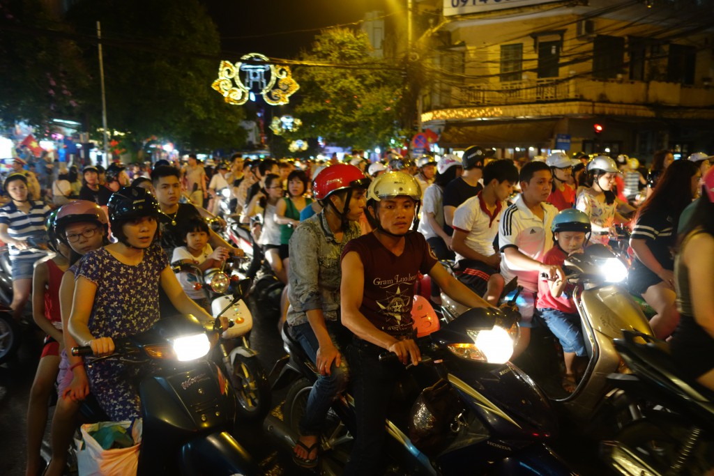This is the crazy traffic we experienced on our first night in Hanoi.