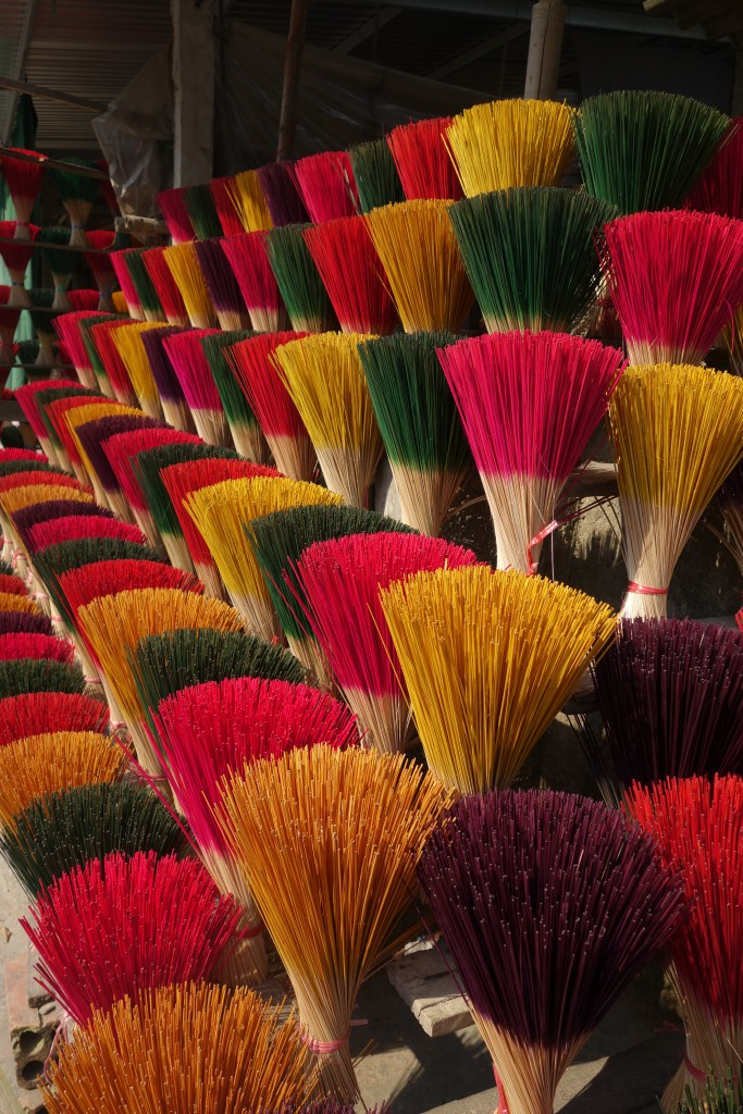 Locally made incense for sale in Huế.