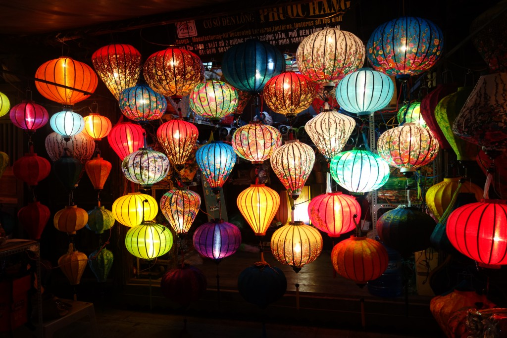 Lanterns being sold at the market in Hoi An.