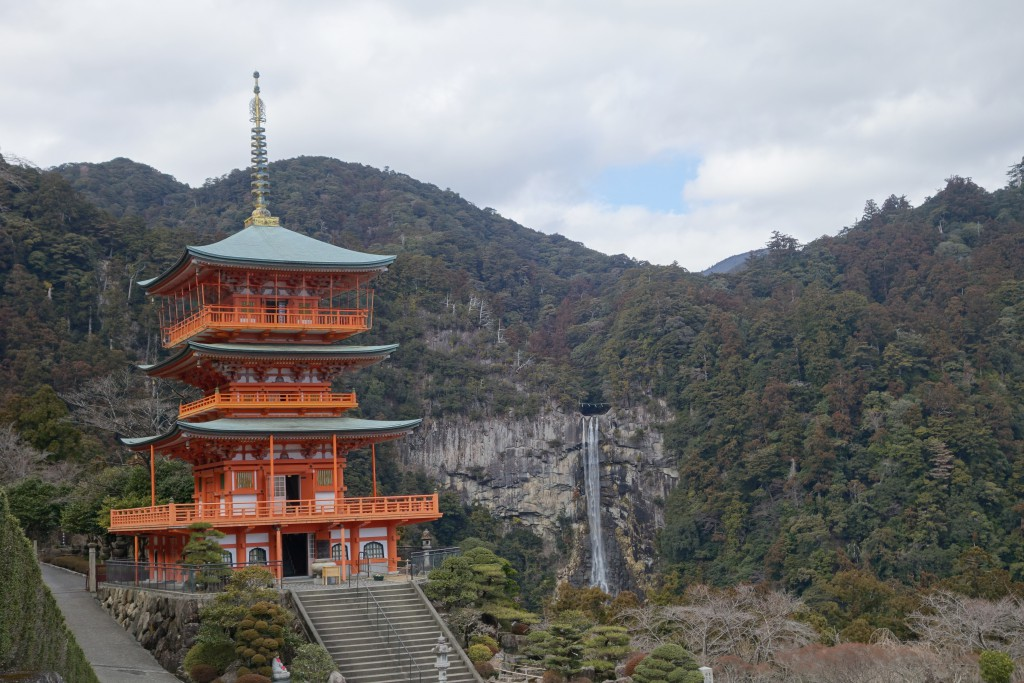 Seiganto-ji temple with Nachikatsuura waterfall in the background.