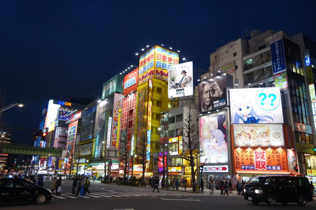 Akihabara tech district at night.