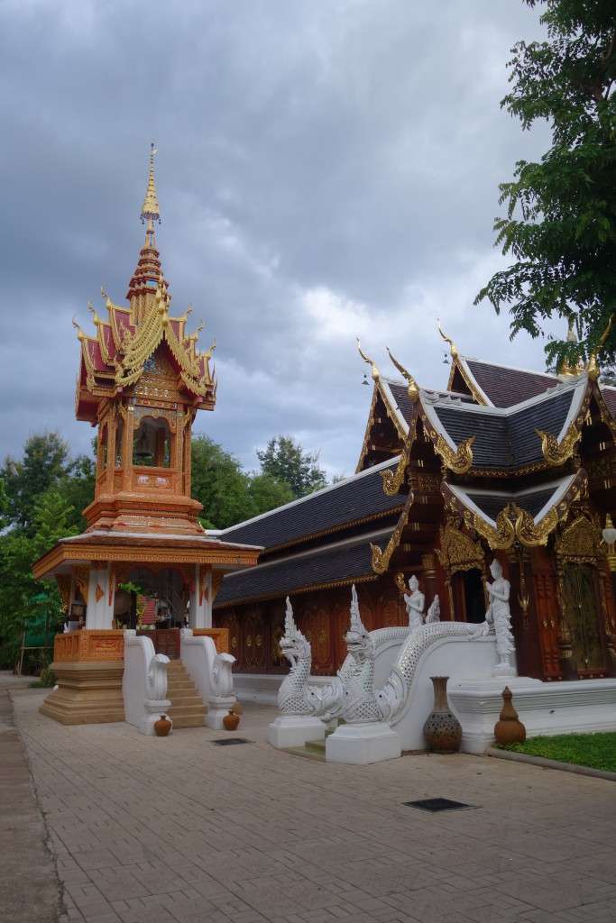 On the left is the bell that woke us up at 4 am every morning. The ordination hall is on the right; this is where monks would do their daily chants and the Thai members would hold Sangha.