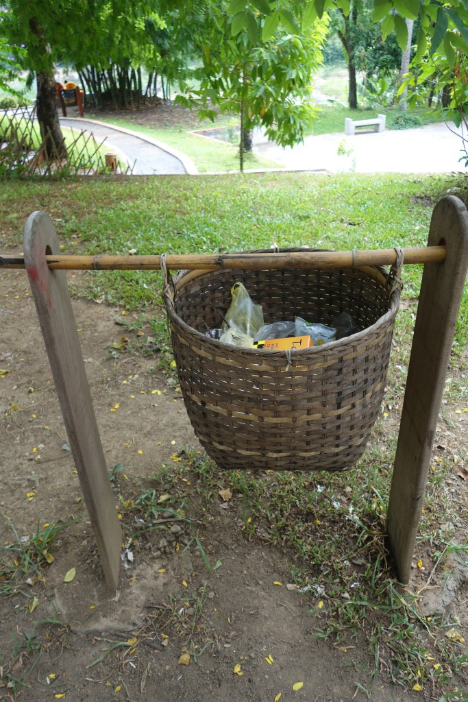Cute trash baskets along the road.