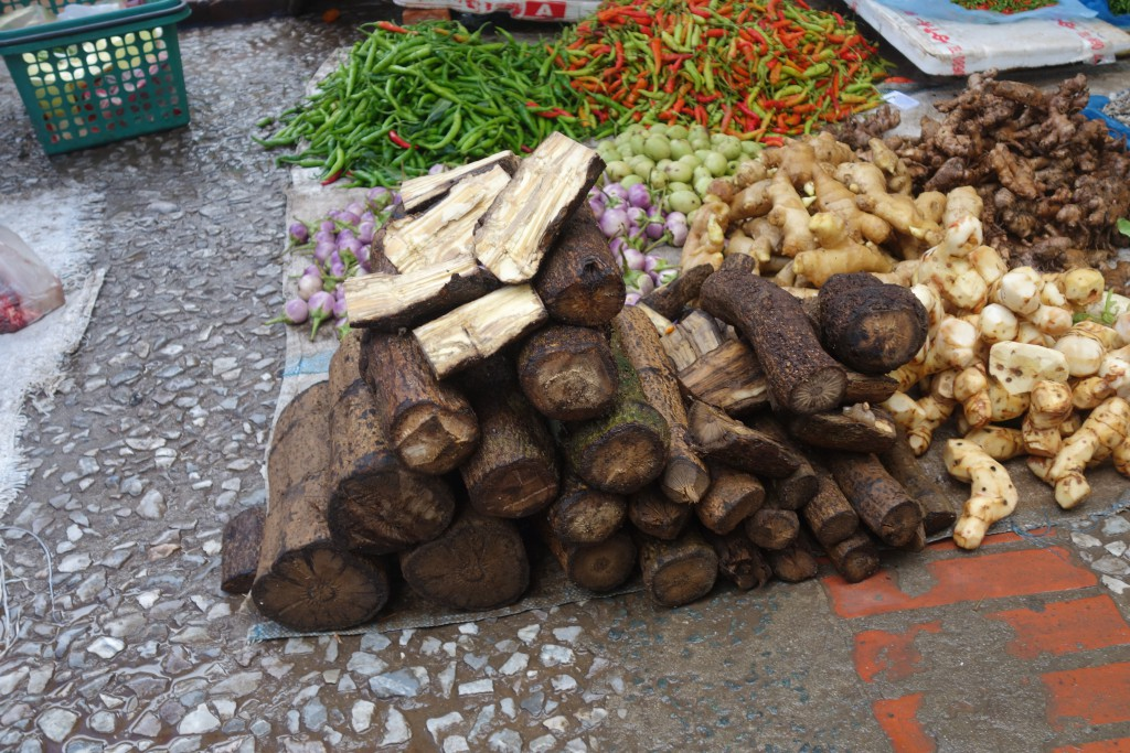 Pepperwood for sale at the market in Luang Prabang.