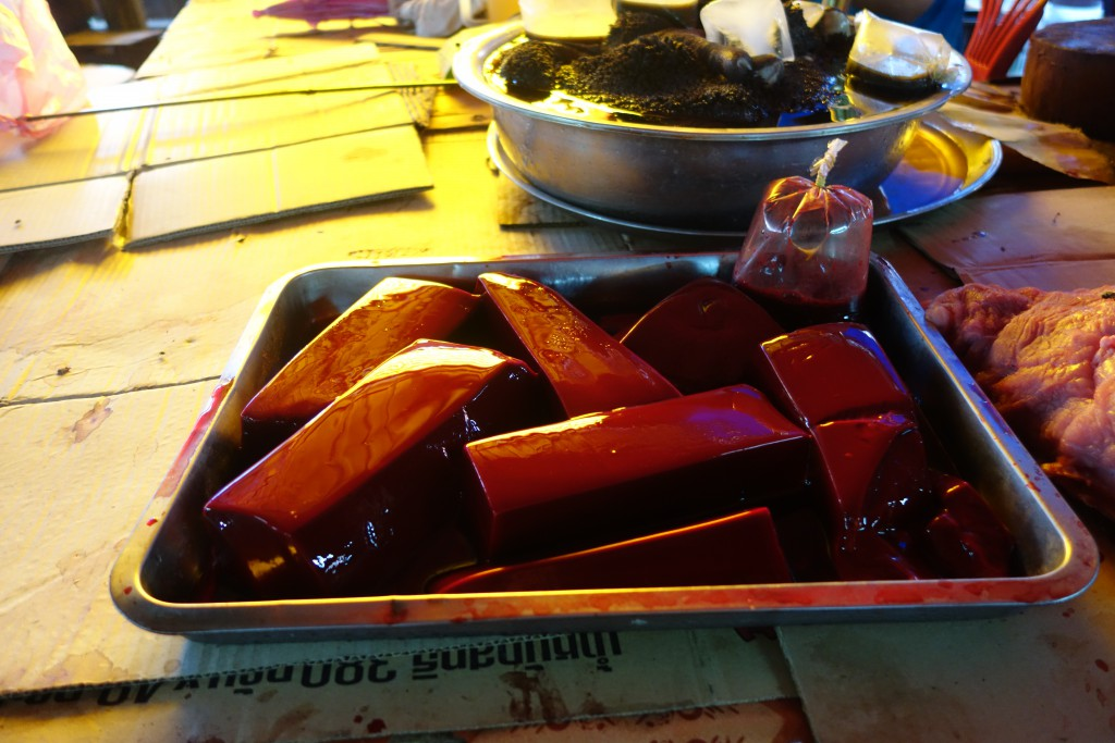 Fresh blood tofu at the market in Luang Prabang.