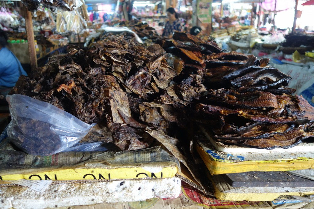 Dried fish for sale at the market in Luang Prabang.