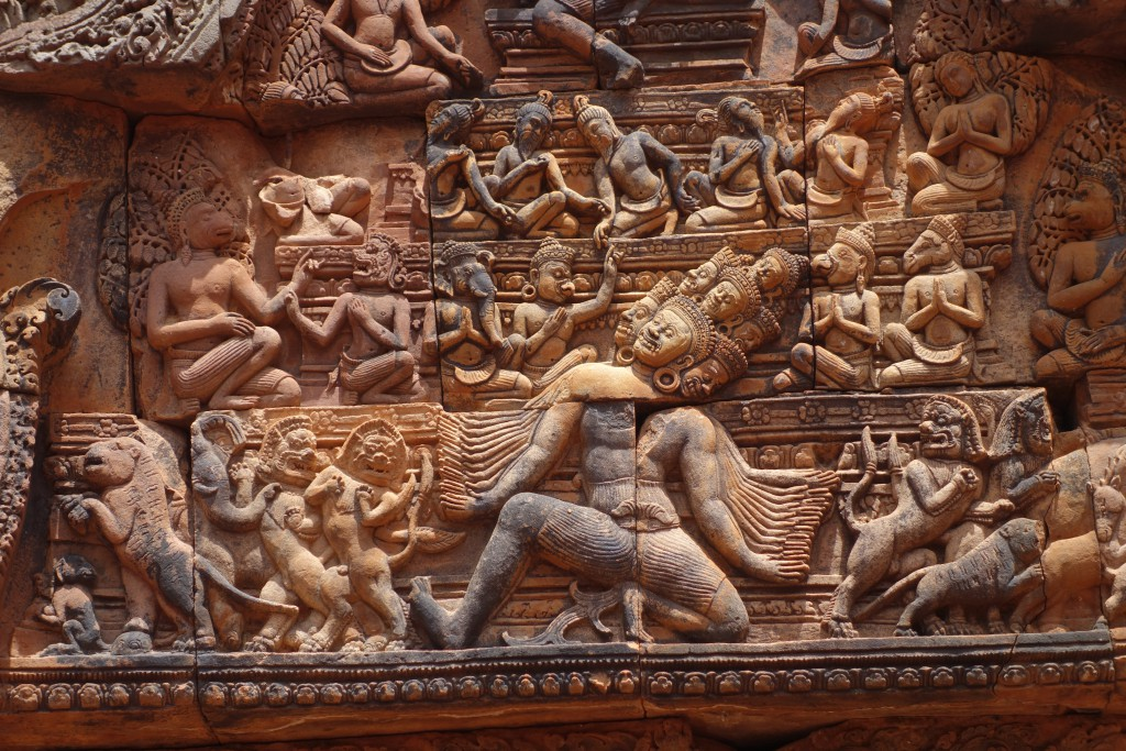 Intricate sandstone carvings and Banteay Srei