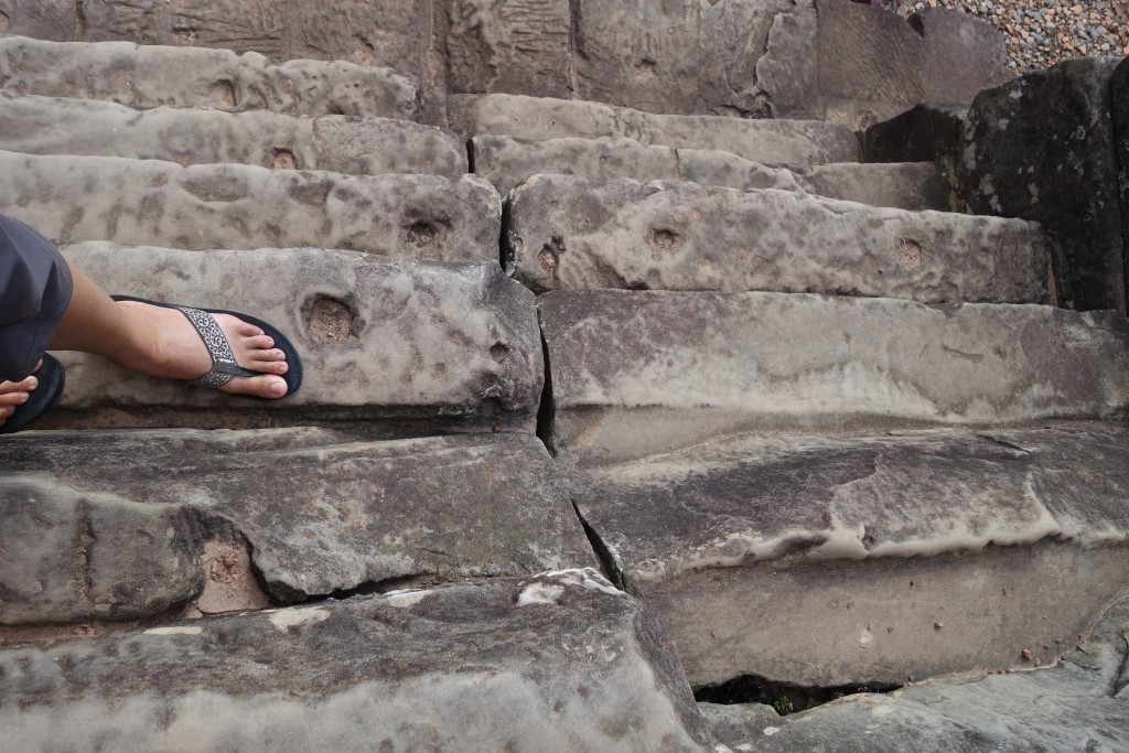 The steps at many of the temples are notoriously thin, steep, and degraded.