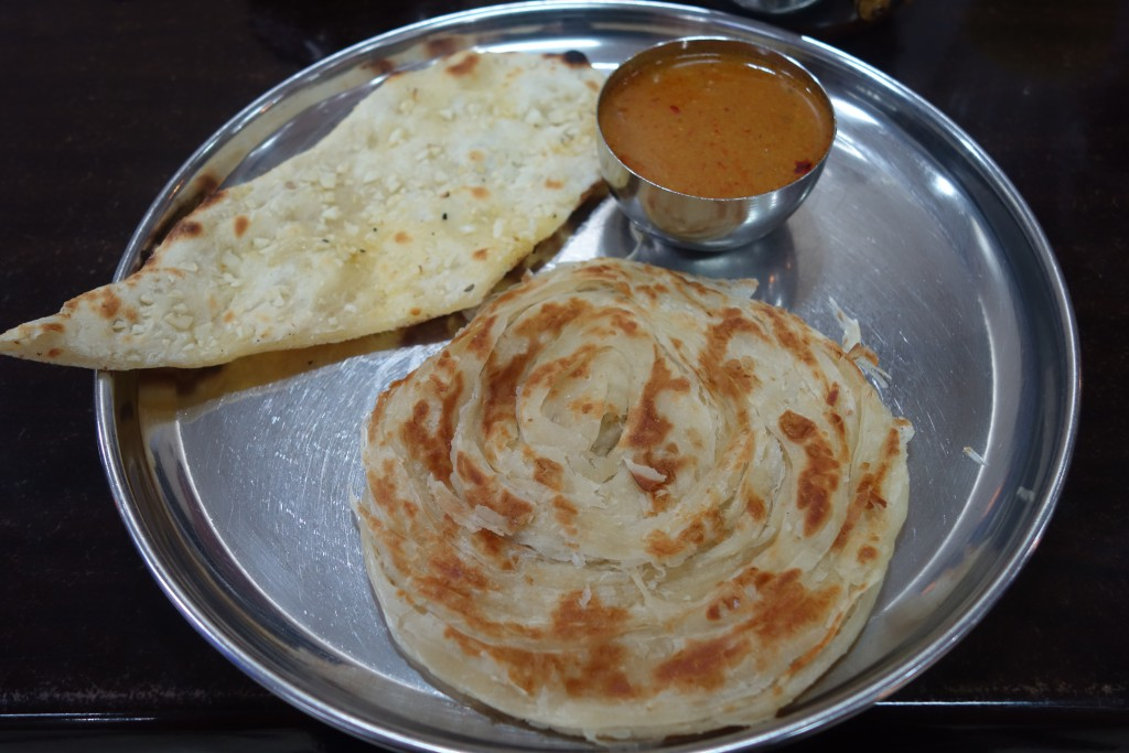 Roti and naan served with a small portion of curry for dipping.