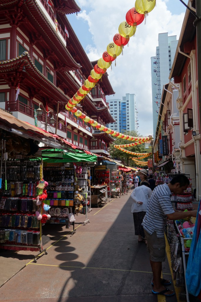 The Buddha tooth Relic Temple seen from the street.