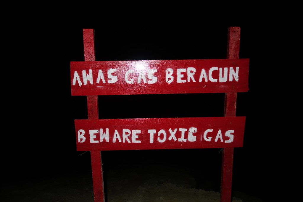 We we warned at the crater rim that there would be toxic gasses ahead.