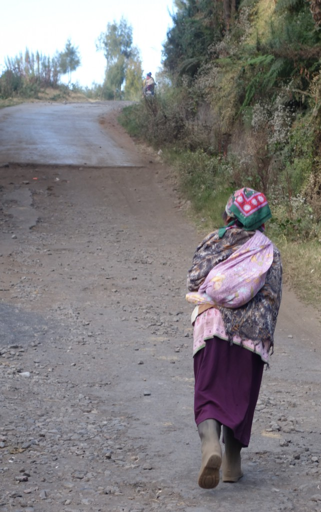 A tied cloth sack carried by a local in Cemoro Lawang.