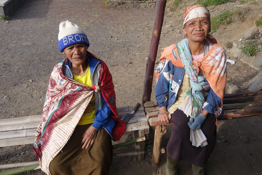 Cloth capes help the locals in Cemoro Lawang keep warm!