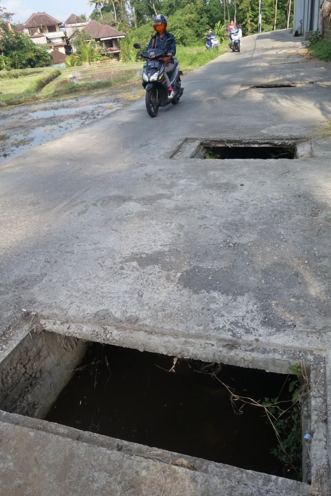 Random holes in the road in Ubud.
