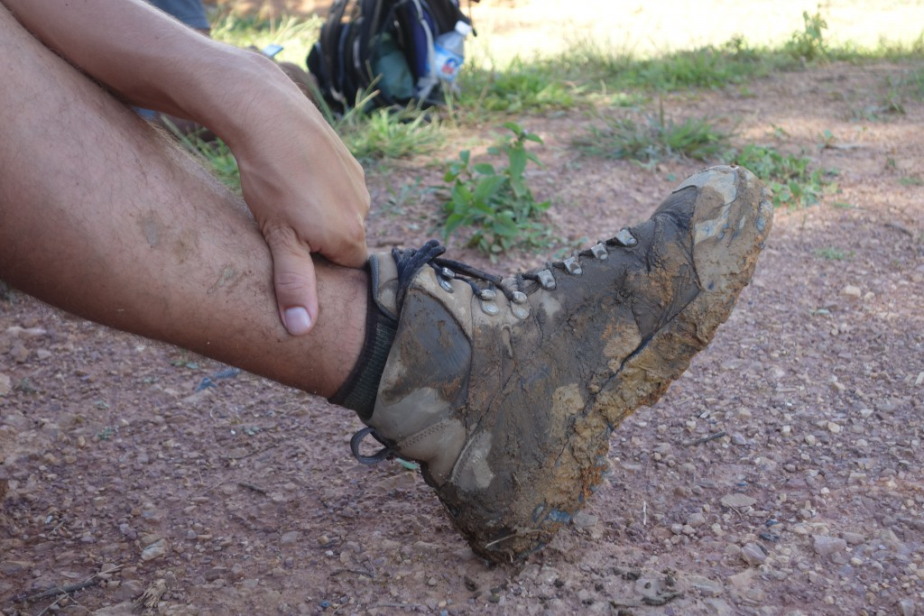 Muddy shoes from trekking.